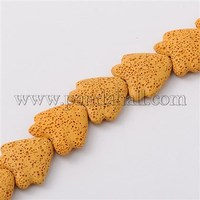 """Tropical Fish Synthetic Lava Beads Strands, Dyed, Yellow, 25x24x10mm, Hole: 1mm; about 18pcs/strand, 15.9"""""""