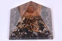 Black Tourmaline Orgone Energy Pyramid with Crystal Point for Orgone Healing