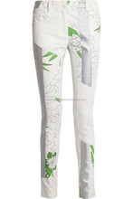 wholesale demin skinny jeans jeans pants ladies printed in green splashes