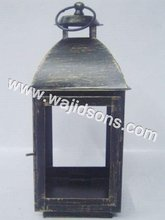 For Decorations Wooden Hut Type Glass Lantern and Silver Plated Lantern