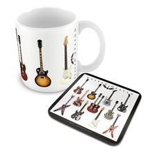 Home mugs guitar heaven mug and coaster set, coffee mug coaster, table decoration and accessories