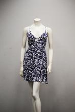 fashion causal dress sleeveless printed summer long dress thin shoulder straps