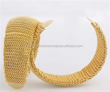Hot Selling Charm Fashion Fake 22K Gold Mesh Bangle for Women