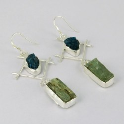 Forest King !! Green Prehnite_Blue Apatite 925 Sterling Silver Earring, Express Delivery !! discounted Prices, Sterling Rings