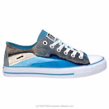 Casual shoes with printed images of various places in Greece. Retail and Wholesale