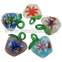 Handmade Lampwork Pendants, with Inner Flower and Laminous, Apple, Mixed Color, Size: about 34mm Wide, 43mm Long, hole: 8mm