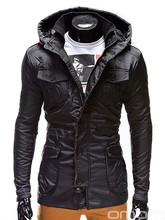 OMBRE Fashionable Black Overcoat Coat Jacket with zipper and bottons men clothes italian style
