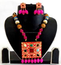 Meenakari Jewelry-Stone work Tanjore Jewelry-Indian Handmade Tanjore Art Jewelry-Wholesale Designer Tanjore Pendant Set 2015