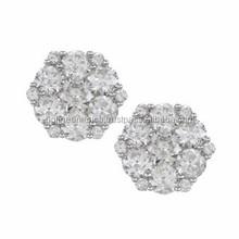 High Quality Hot Sell Charming Little Tiny Diamond Hexagon Stud Earrings