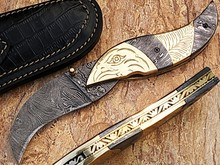 Damascus Steel Folding Knife by York Vivant Company YV-NA1 Full Damascus & Antique Work on Brass Handle
