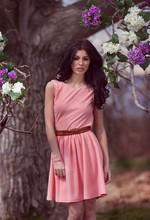 Spring drapery backless flare dress XS-L