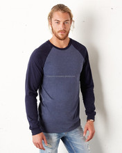raglan style 100%cotton knit fabrics soft full sleeve t-shirt for men