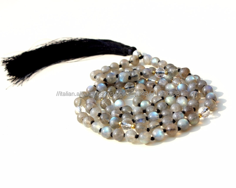 Perline Nappa di Seta 108 Japa Mala Perline Labradorite Rotonda AAA