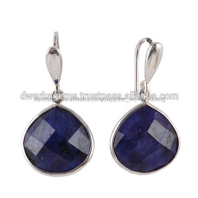 925 sterling silver sapphire tingido brincos design de moda brincos de jóias por atacado