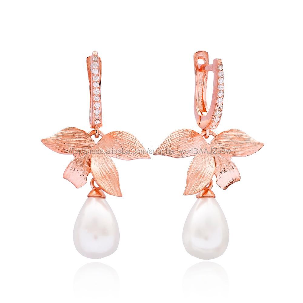 ドロップ蘭デザインで真珠トルコ卸売925スターリングシルバージュエリーイヤリング
