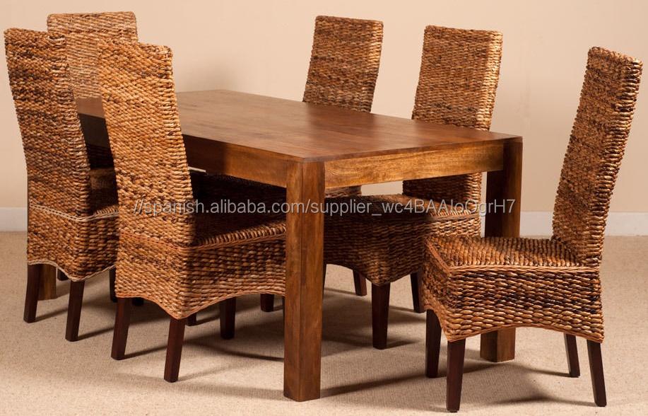 Plátano fibra rota de mimbre mesa de comedor y silla