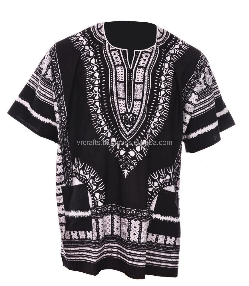 メーカーと卸売業者のブラック&ホワイト100%コットンアフリカdashikiシャツ用男性&女性