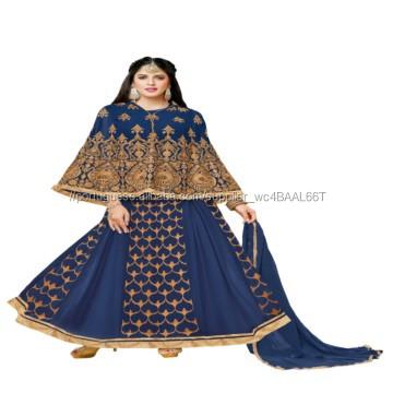 Indiana Bonita Azul Color Fashion Designer Anarkali Estilo Do Casamento e Desgaste Do Partido do Vestido