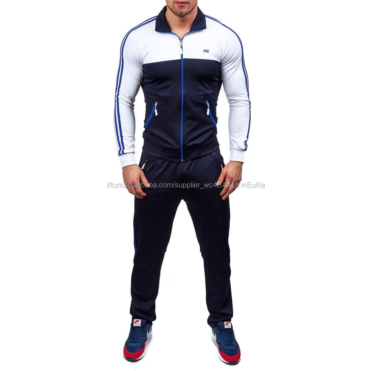 Erkek fermuar uzun kollu slim Fit eşofman takımları spor koşu Jogger spor giyim erkek yan çizgili şık eşofman